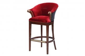 高端奢华新古典红色布艺吧椅