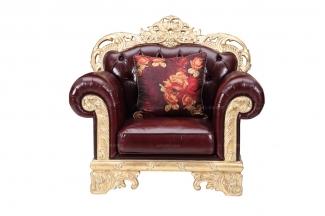 世界高端万博手机网页奢华新古典真皮单人沙发