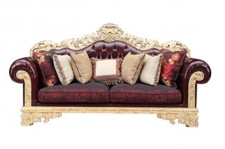 高端奢华会所家具雕花皮布三人沙发