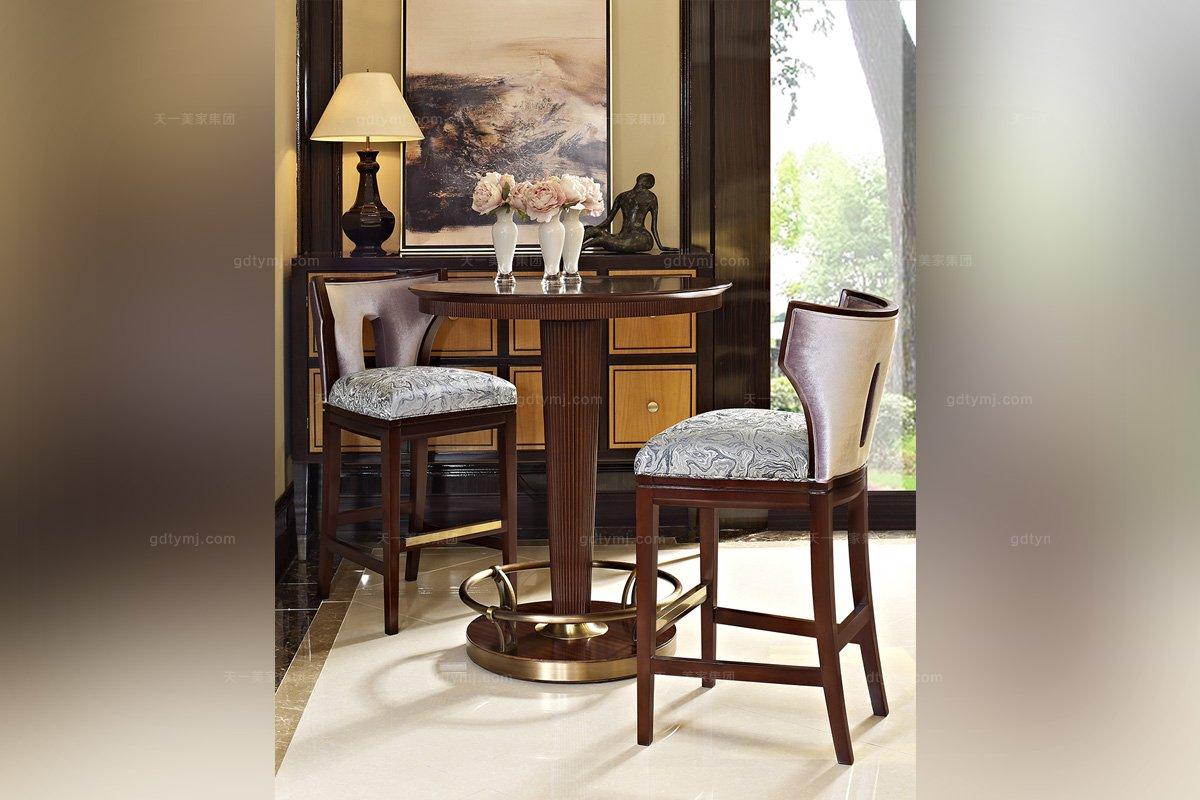 高端简约新古典实木吧椅