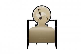 高端新中式圆拱单人休闲椅