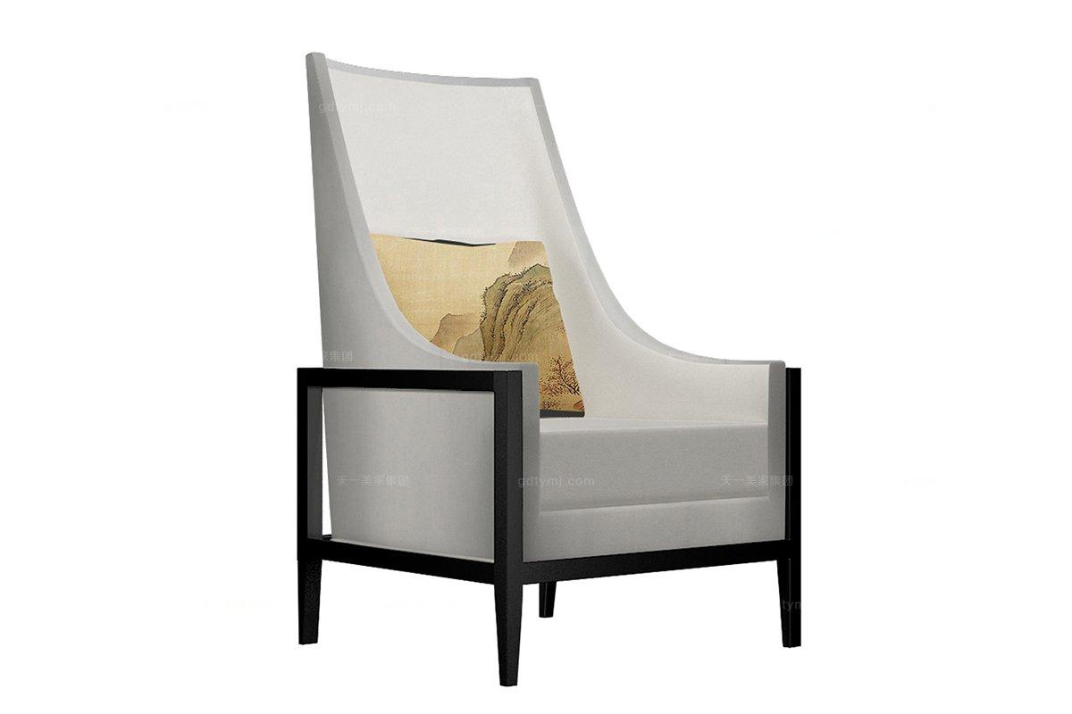 高端新中式条舟单人沙发