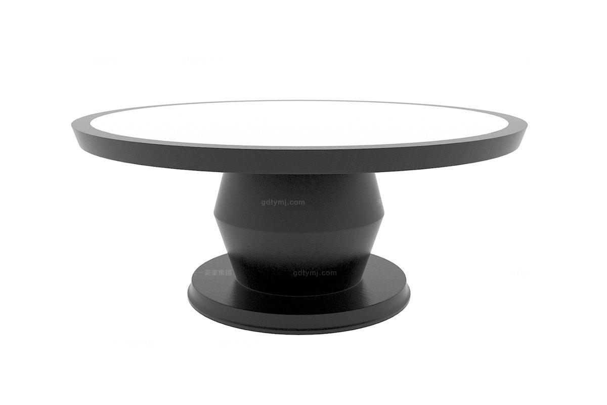 高端新中式黑色大理石面餐桌