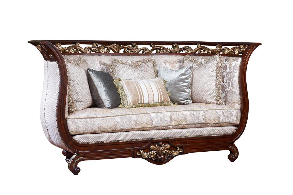 高端美式沙发图片精致雕花美式二位沙发