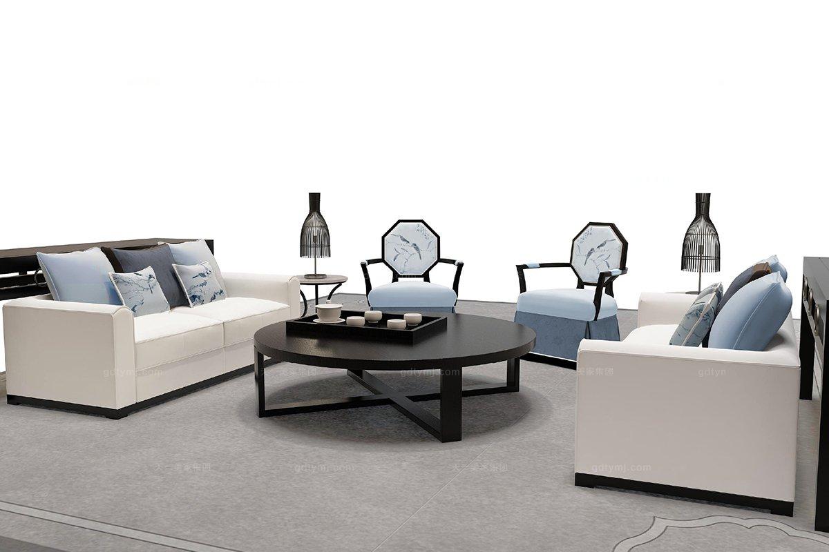 高端新中式青姑三人沙发