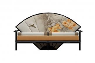 高端新中式牡丹扇长沙发