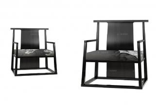 高端客厅万博手机网页新中式牡丹花单人休闲椅