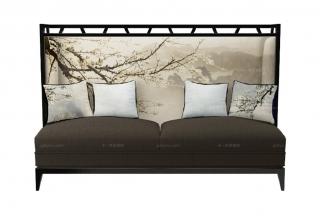高端新中式白梅三人沙发