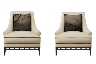 高端新中式白梅单人休闲沙发