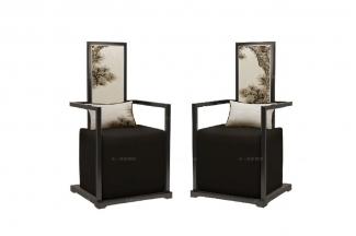 高端新中式寿松单人休闲椅