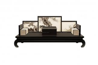 高端新中式寿松长沙发