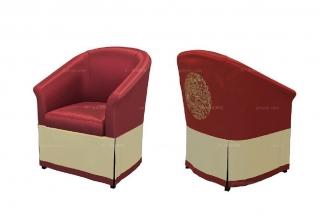 高端新中式红色沙发椅