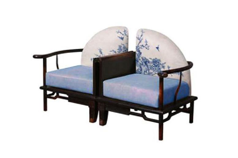 高端新中式青花单人沙发