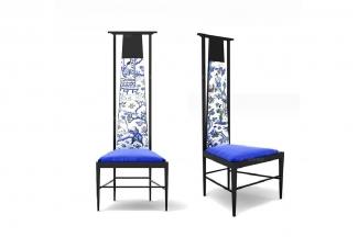 高端新中式中国蓝高背椅