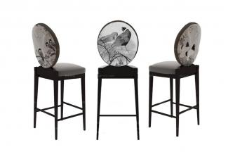 高端新中式黑白花鸟吧椅