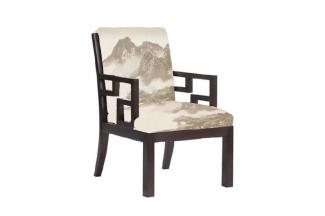 高端新中式山水做旧单人沙发