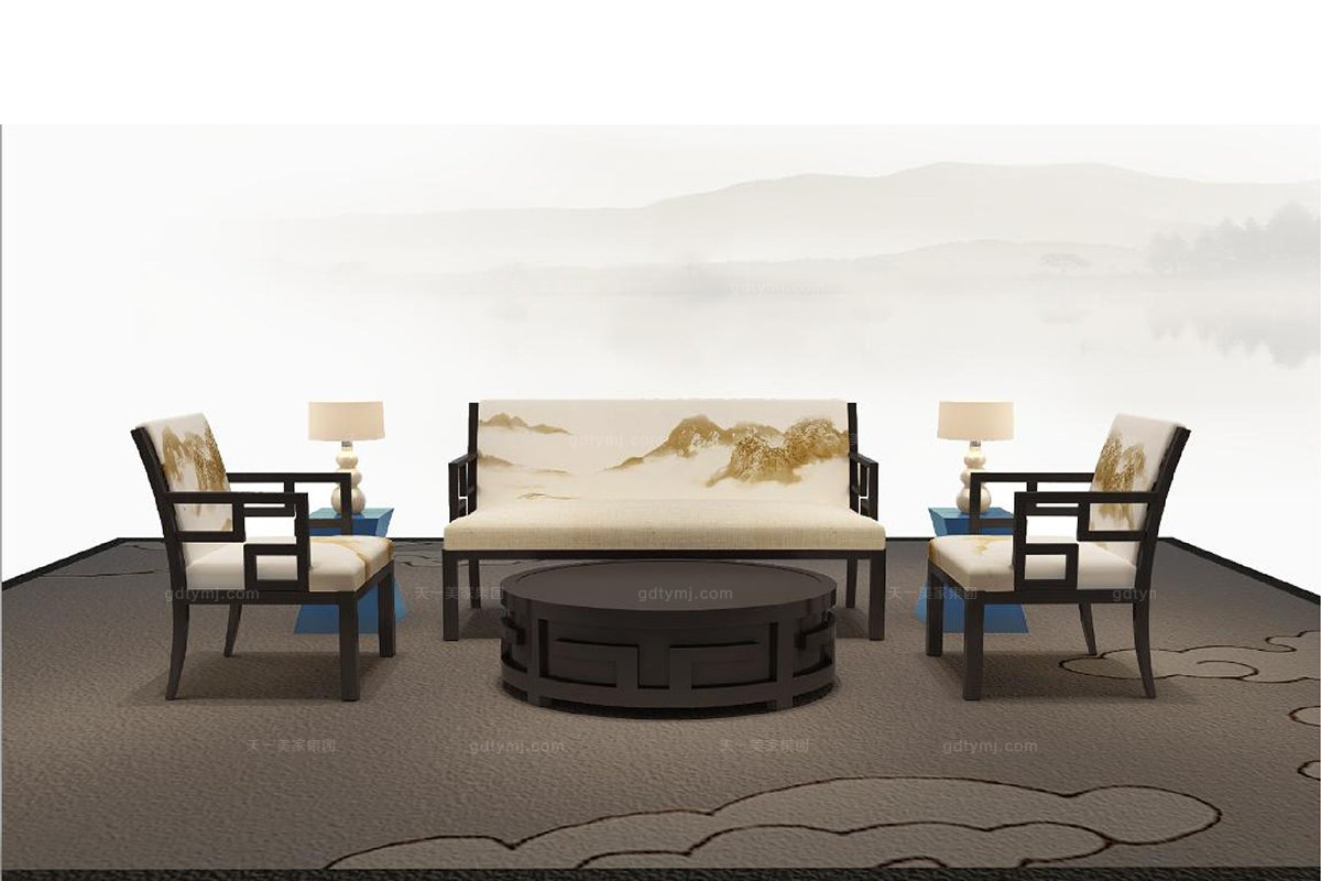 高端新中式家具沙发山水做旧双人沙发