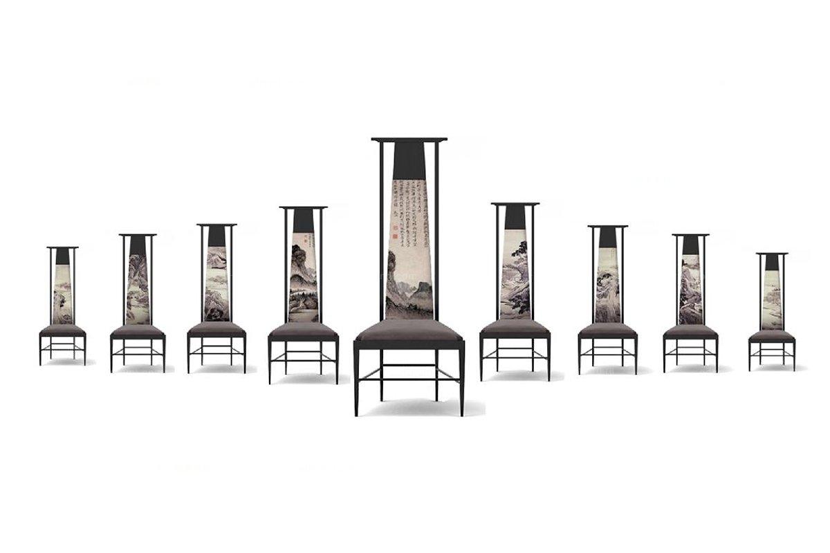 高端新中式山水高背餐椅