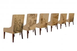 高端新中式山水单人沙发椅