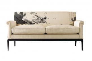 高端新中式万博手机网页样板房水墨龙双人沙发