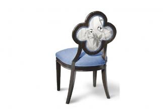 高端新中式中国蓝花鸟单椅