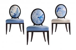高端品牌中式万博手机网页中国蓝花鸟单椅