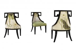 高端新中式高端家具荷花单椅