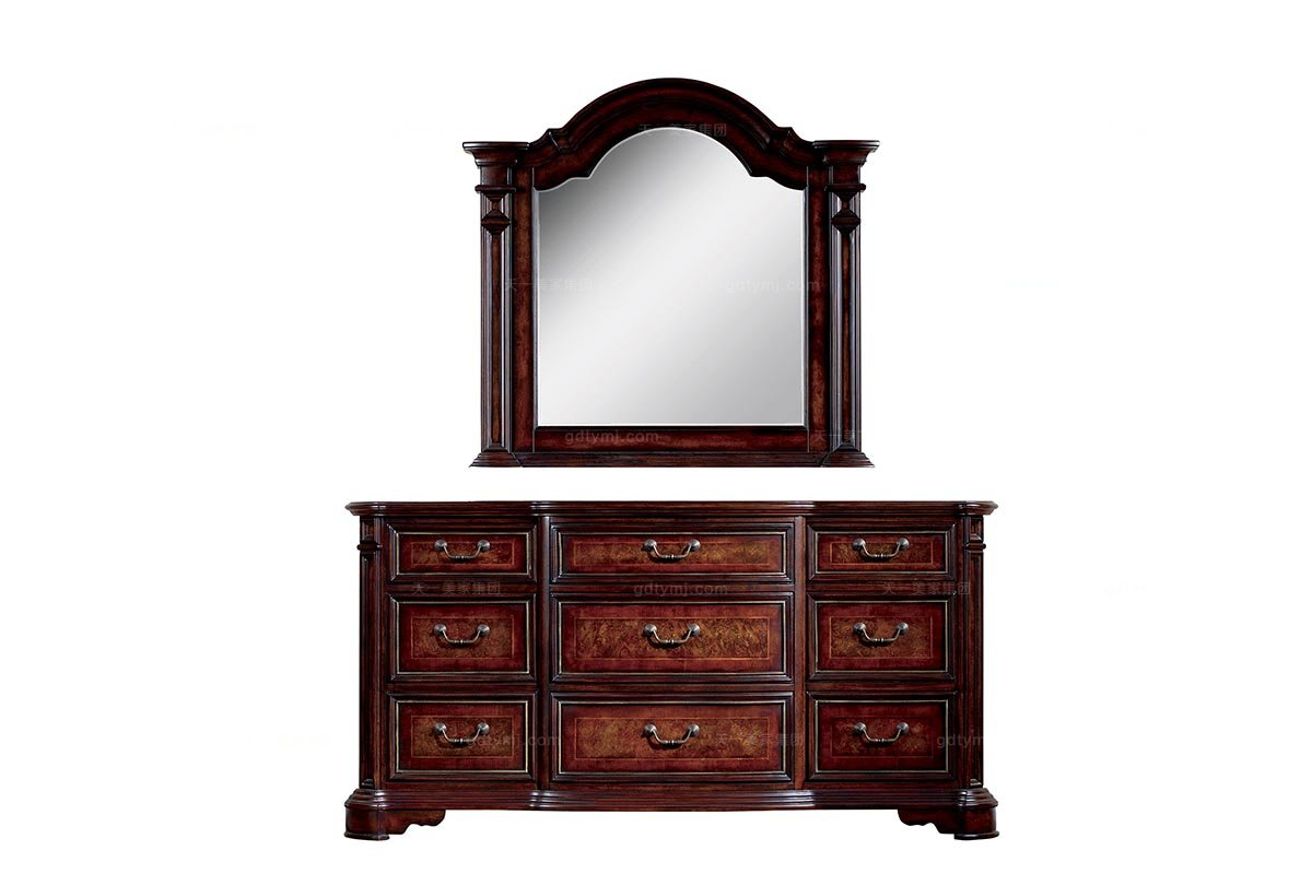 高端家具美式露木色妆台