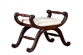 高端实木万博手机网页美式素色布艺妆凳