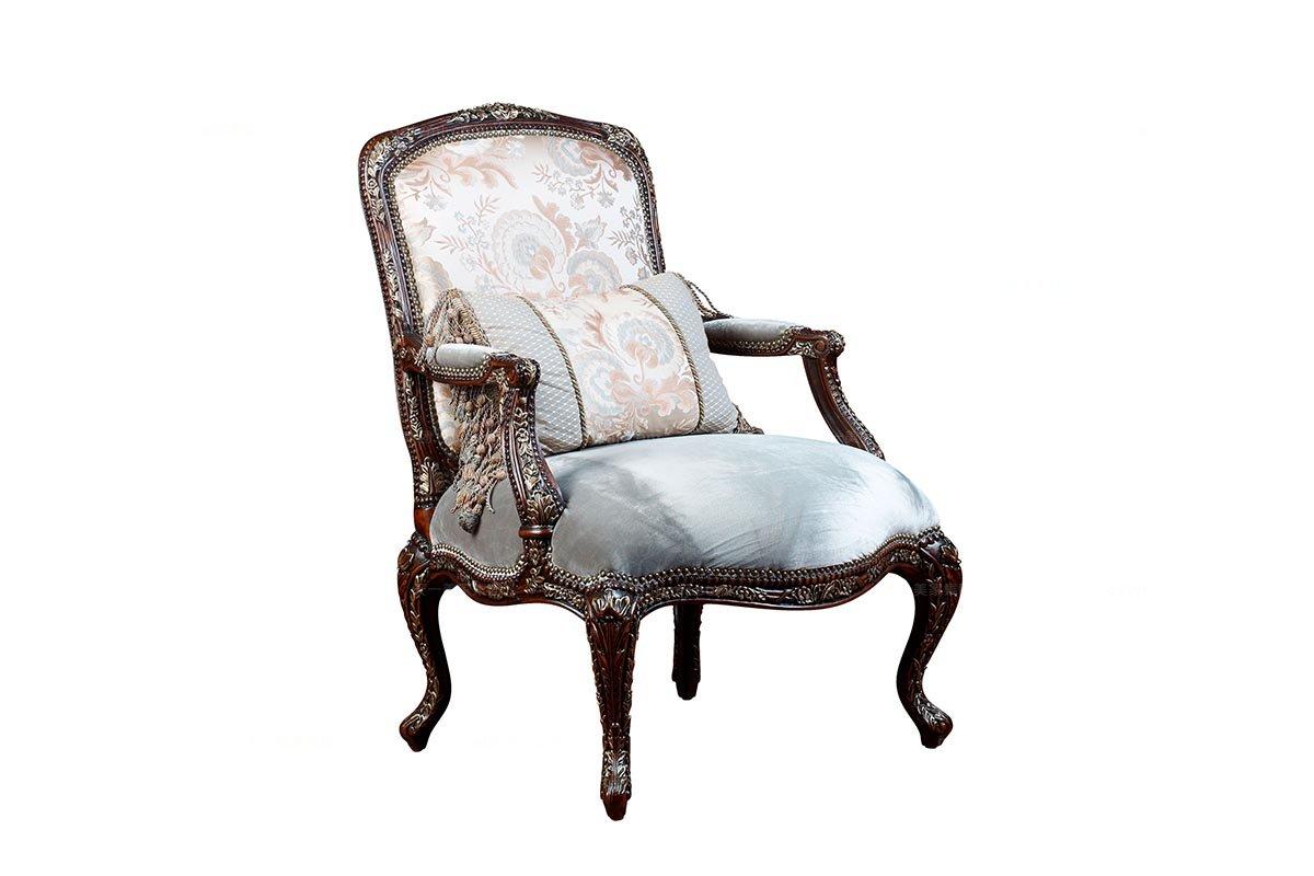 高端美式万博手机网页风格花型布艺休闲椅
