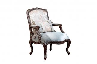 高端美式家具风格花型布艺休闲椅
