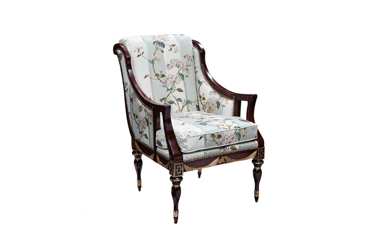 高端欧式家具实木框架雕花休闲椅
