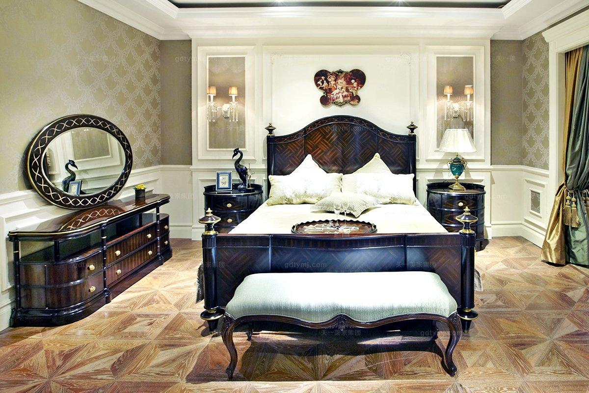 高端欧式家具雕花海绵扪布床尾凳
