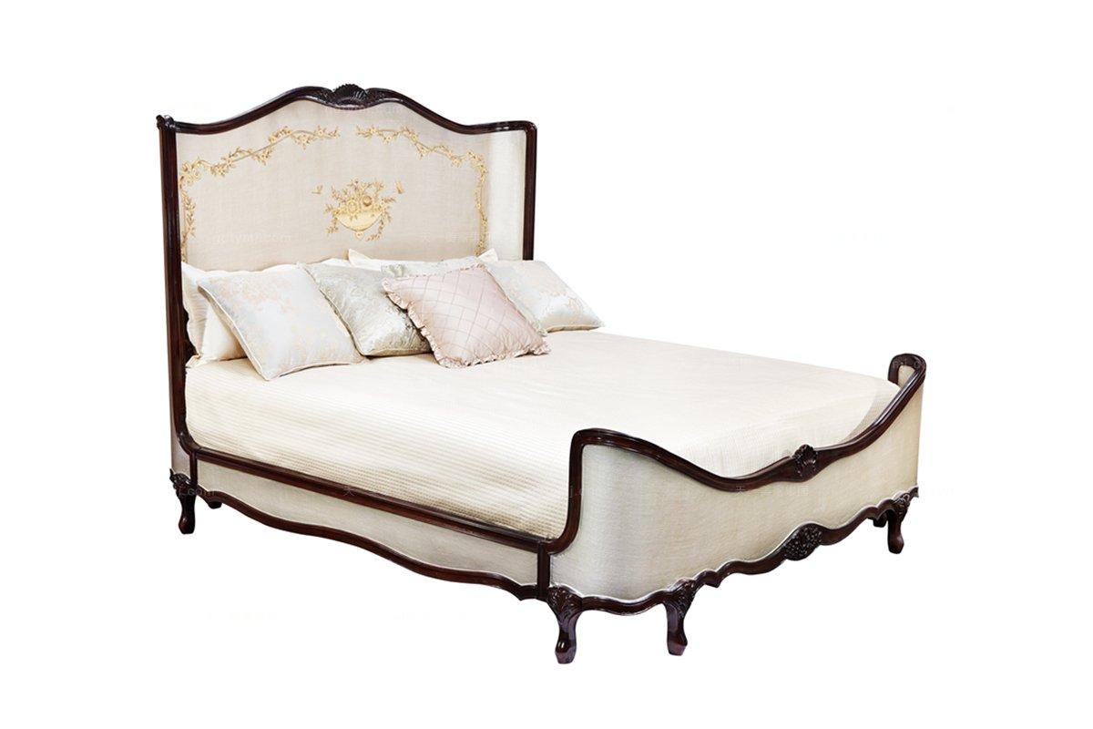 高端别墅简欧家具框架雕花大床