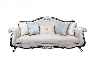 高端别墅雕花真皮三人沙发