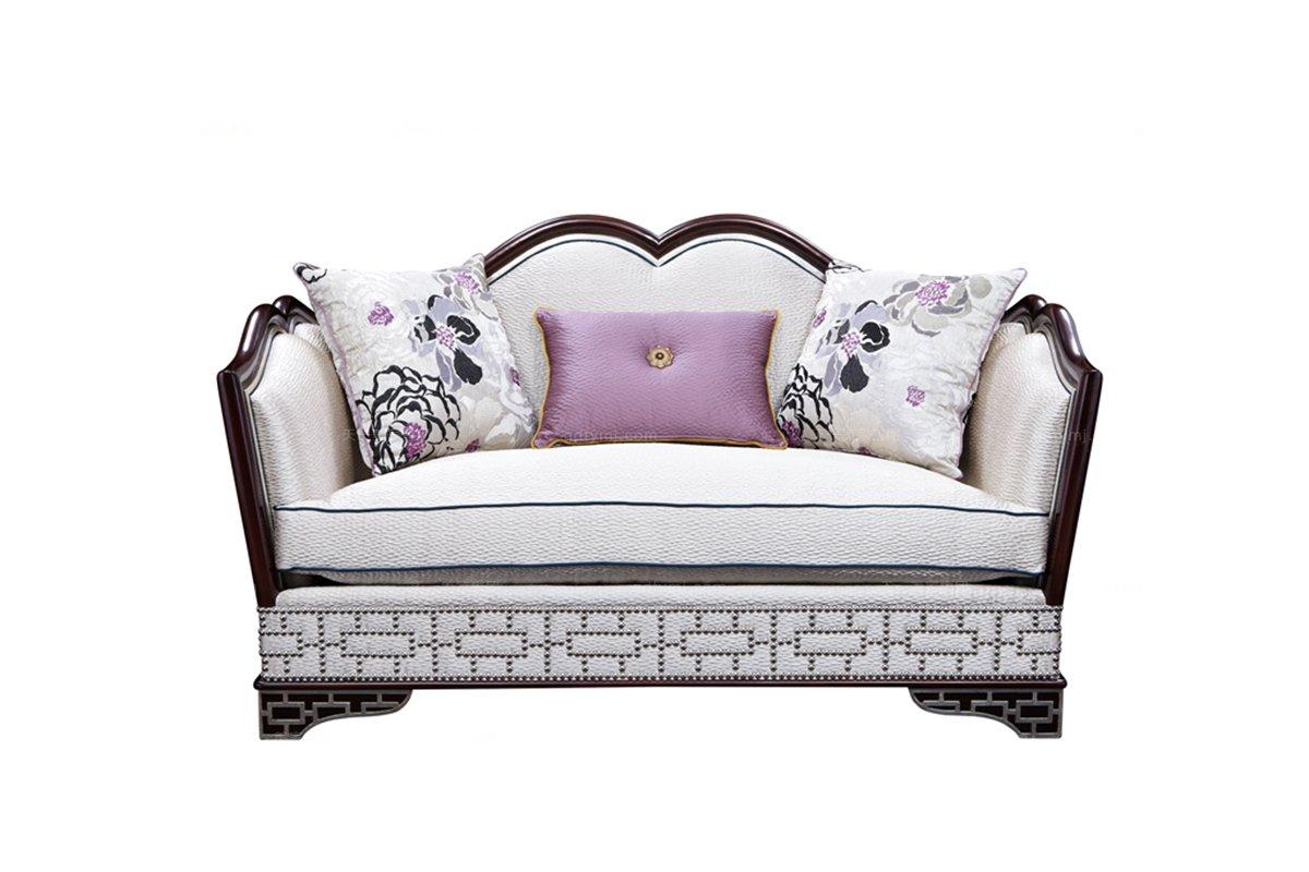 高端欧式家具雕花布艺二人沙发