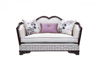 星级酒店万博手机网页欧式雕花布艺二人沙发