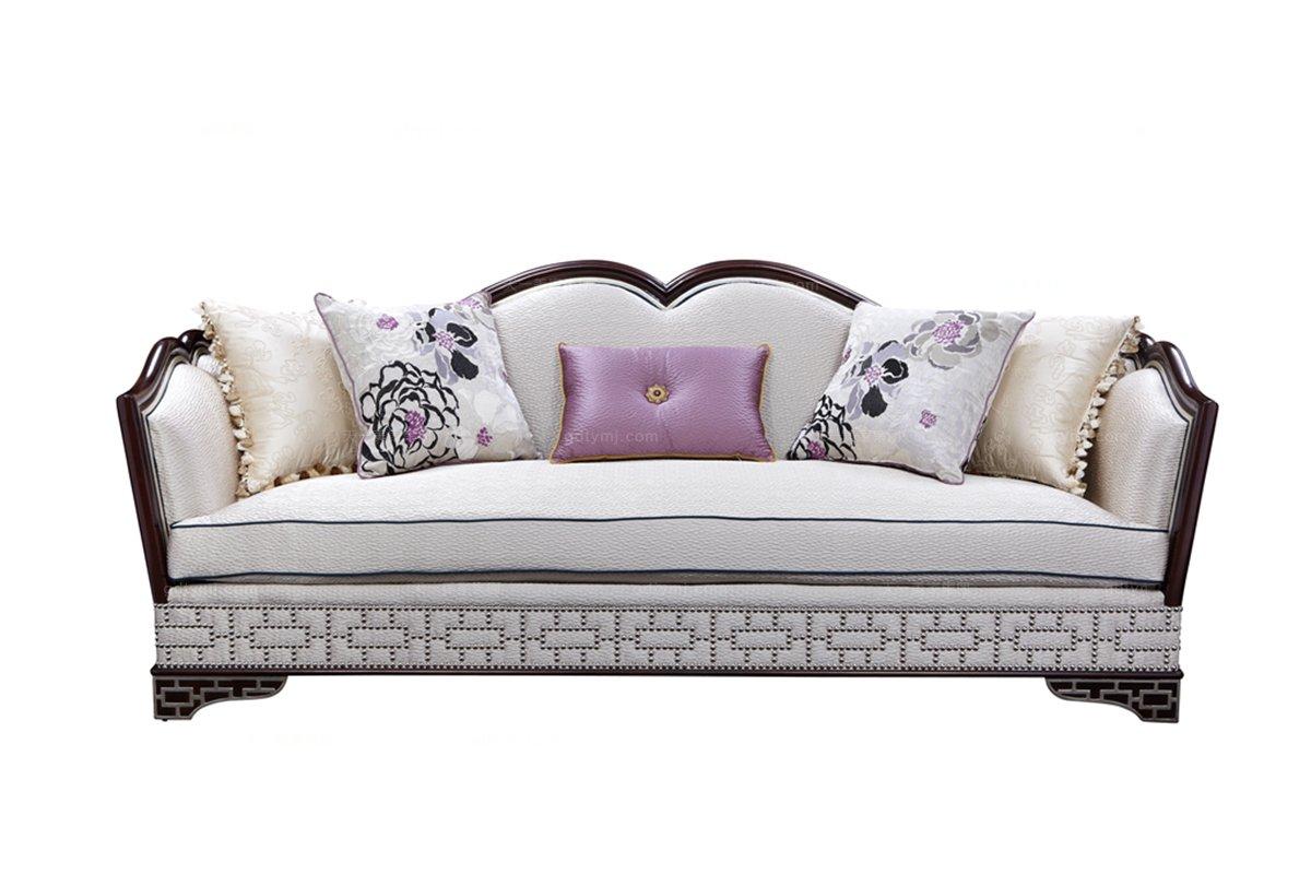 高端欧式家具雕花别墅布艺沙发三人位
