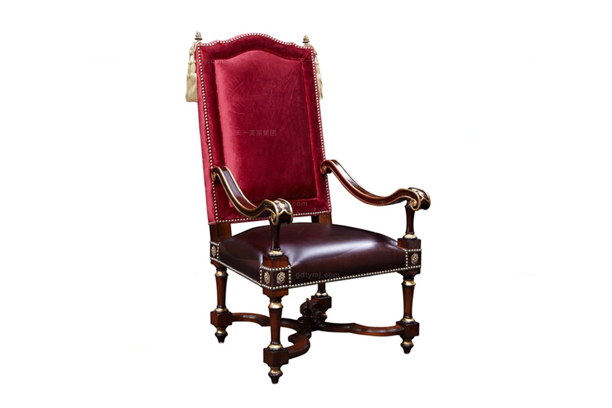 星级酒店家具欧式雕花铜饰扶手椅