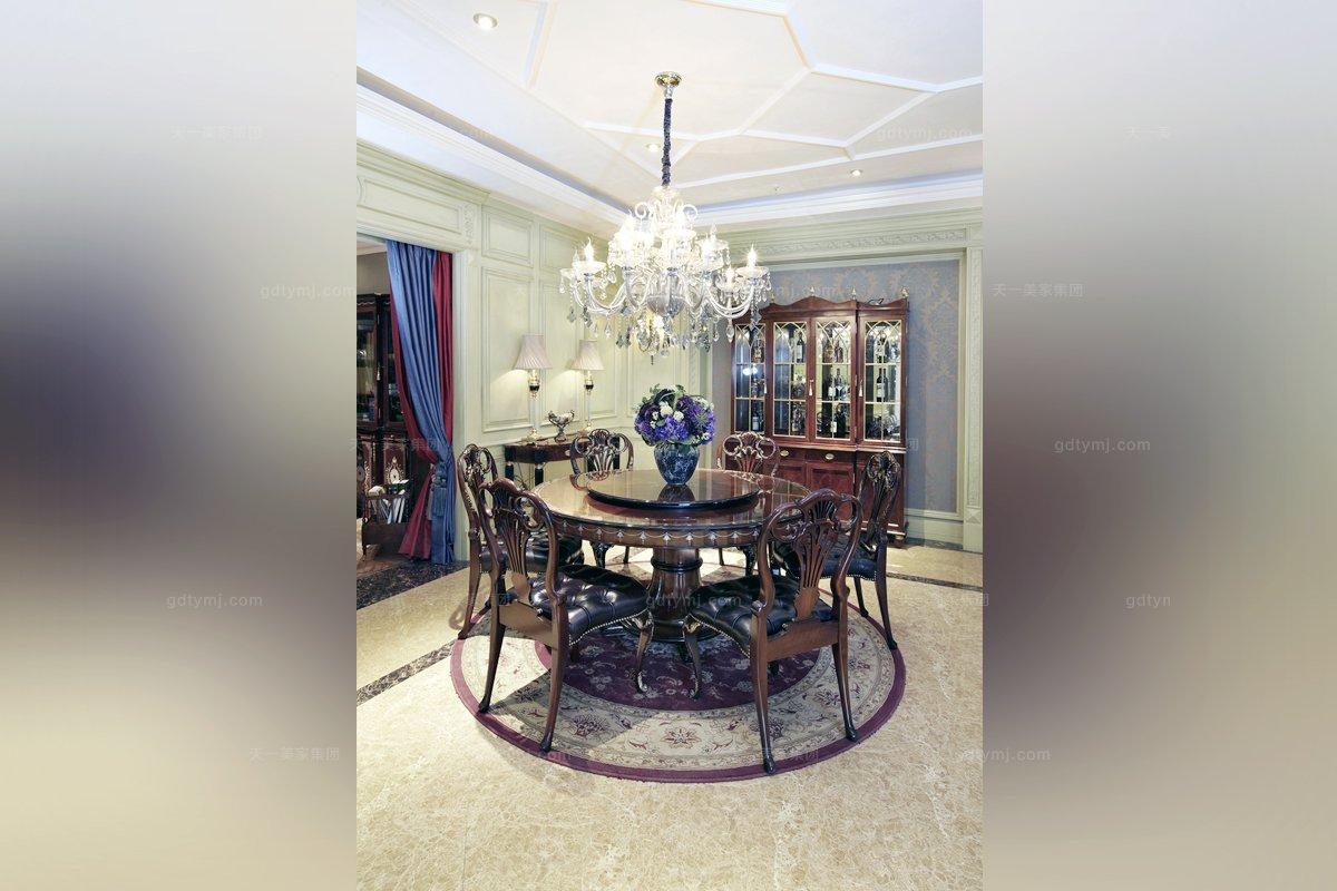 别墅家具品牌高端欧式雕花转盘圆餐台