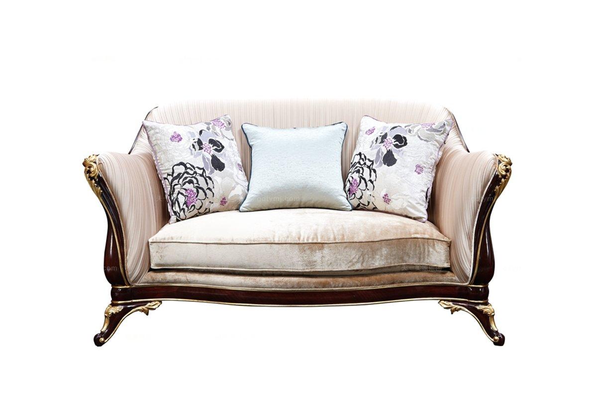 欧式家具别墅家具雕花布艺二人位沙发