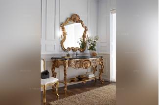 Andrea Fanfani 高端品牌雕刻金色玄关台/镜