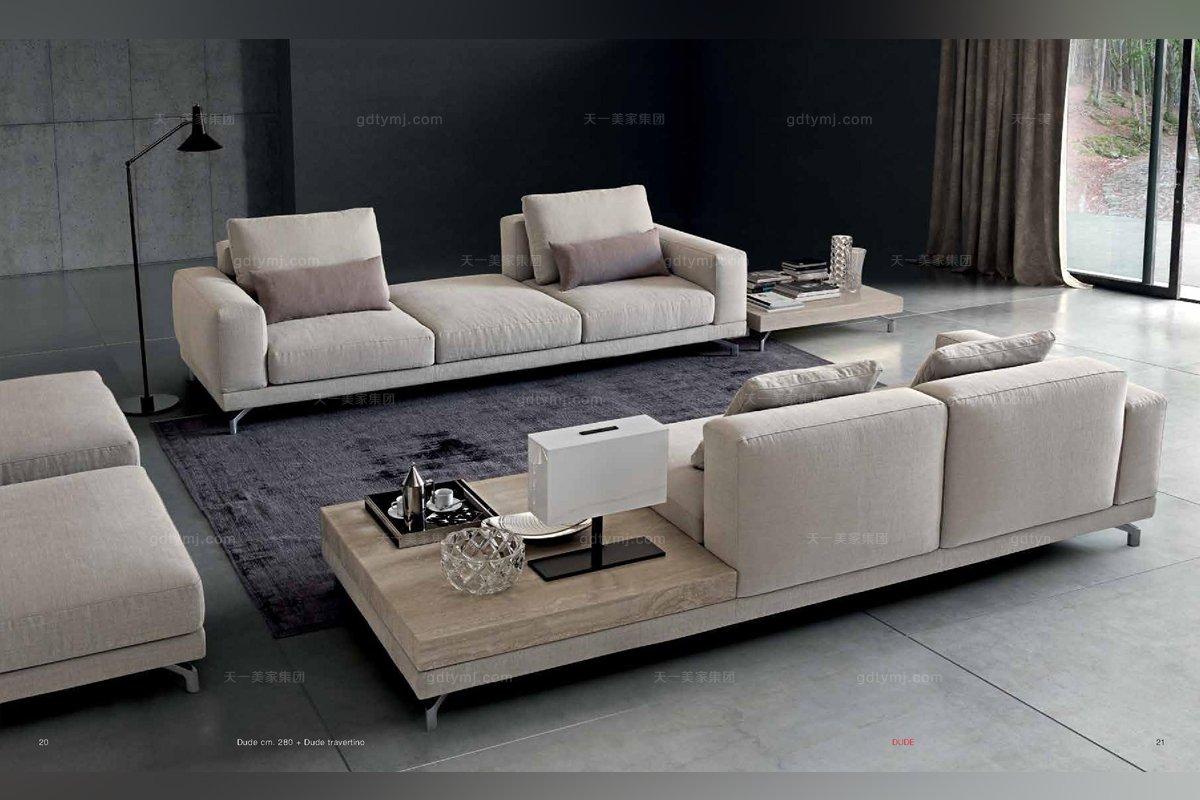 Dema高端时尚现代布艺浅色沙发套组
