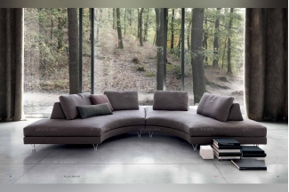 Dema高档时尚现代布艺弧形沙发