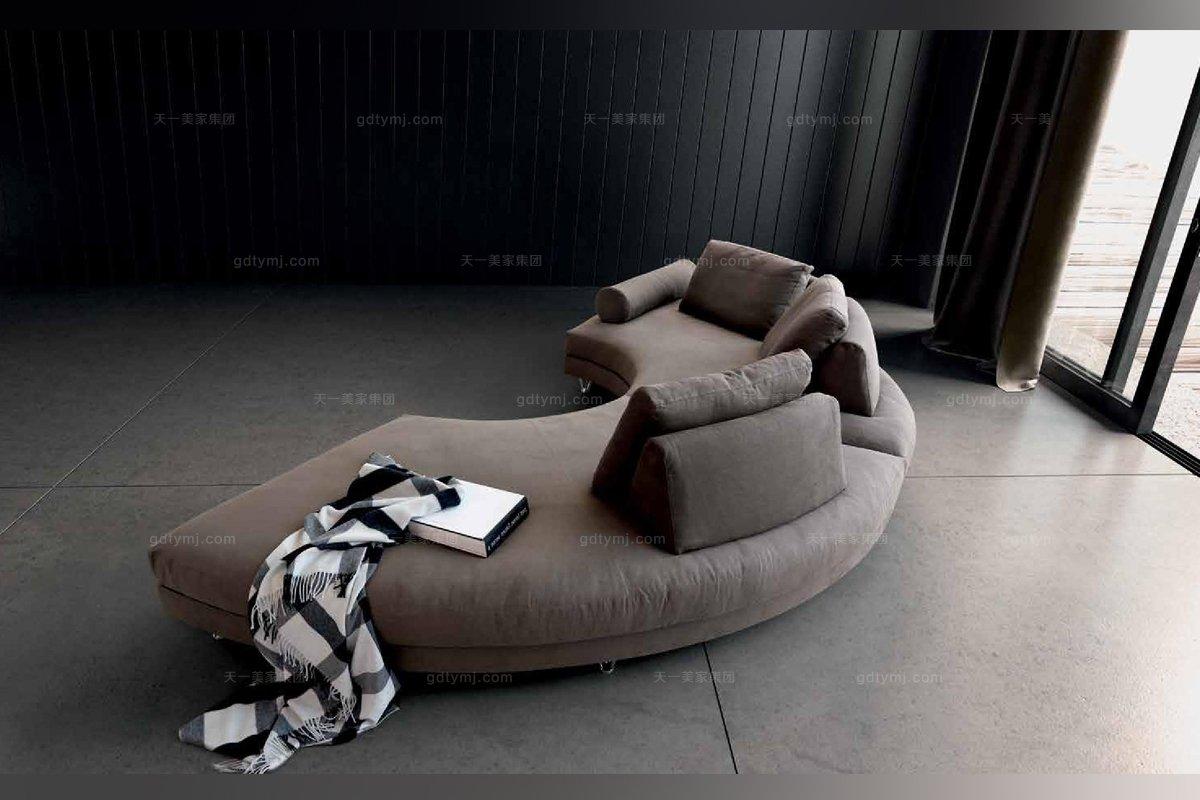Dema高端时尚现代布艺弧形沙发