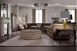 Carpanese新古典客厅系列灰色转角沙发