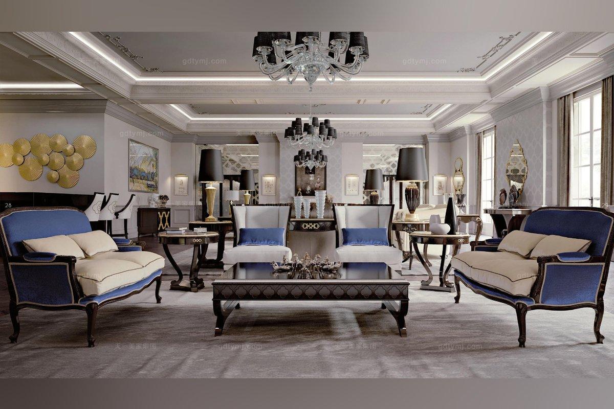 Carpanese简欧式沙发客厅海蓝色系列