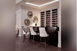 Carpanese新古典白色布艺吧椅+吧台