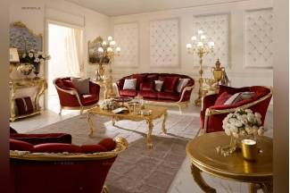 Andrea Fanfani 高端法式雕刻红色沙发组