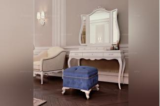 Carpanese新古典白色妆台+妆凳